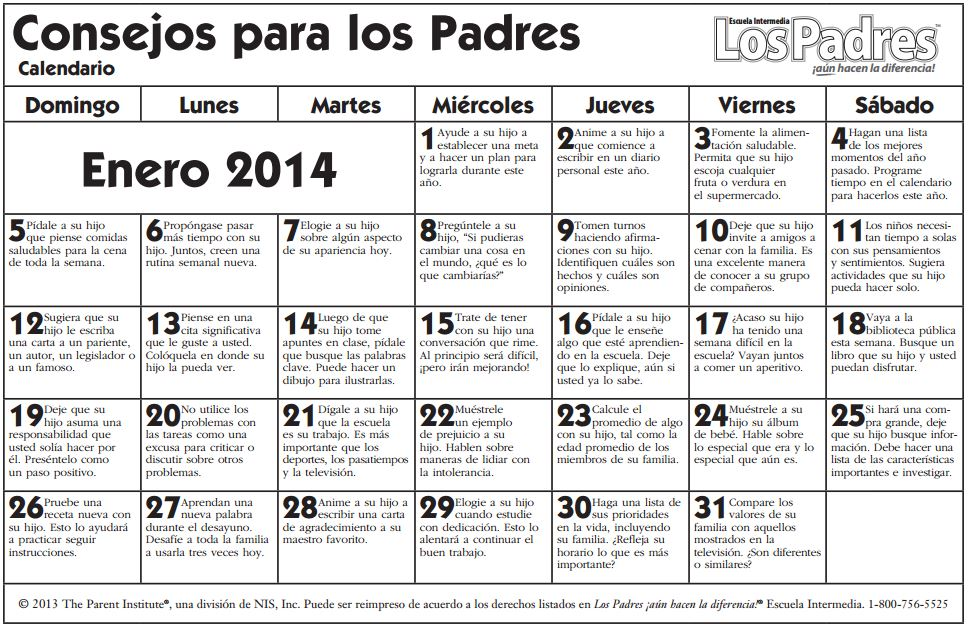 middleschoolcalendar jan 14 spanish