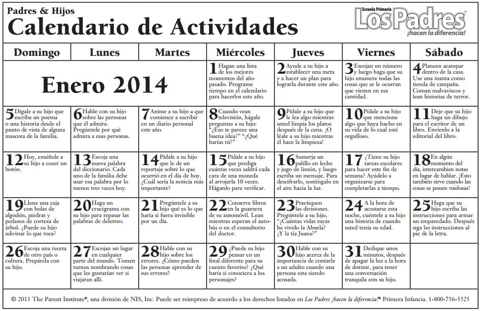school calendar elementary january 2014 spanish