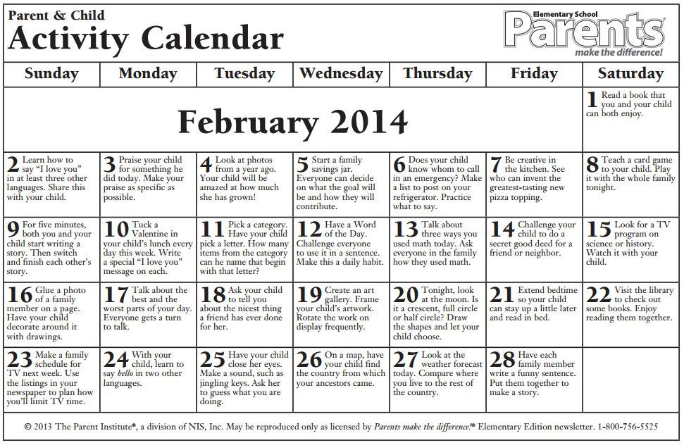 school calendar elementaryfebruary 2014 english