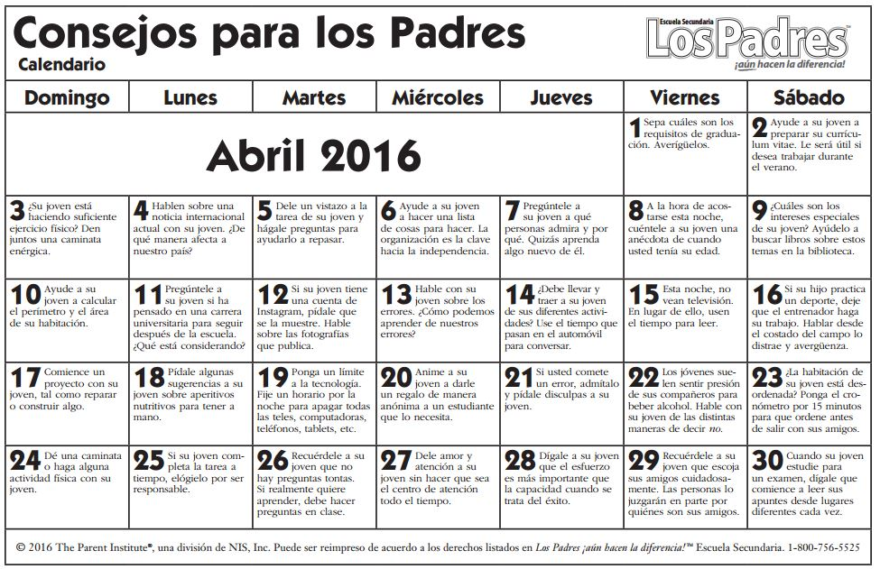 calendario high abril español