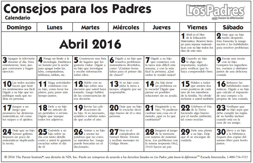 calendario middle abril español