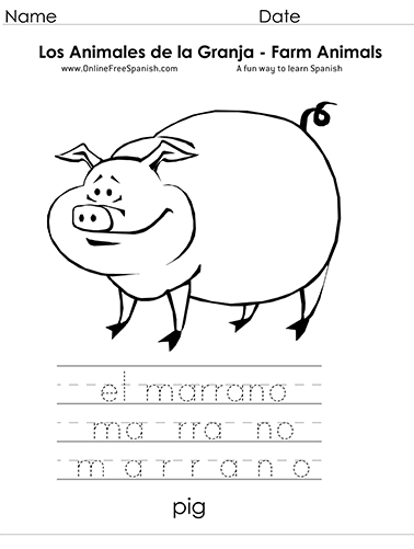 OnlineFreeSpanish.com - Los Animales de la Granja - Farm Animals ...