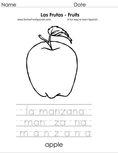 las frutas en espanol worksheet