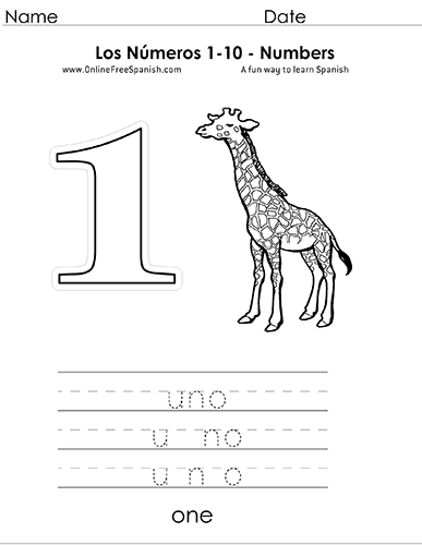 OnlineFreeSpanish.com - Los Números - Numbers 1 to 10 in Spanish ...