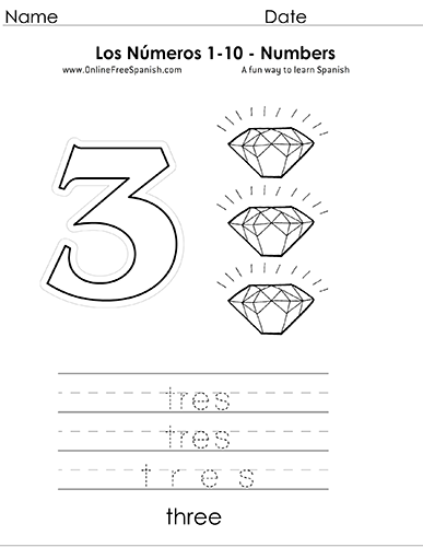 Onlinefreespanish Com Los Numeros Numbers 1 To 10 In Spanish
