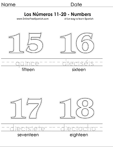 Onlinefreespanishcom Los Números Numbers 11 To 20 In Spanish
