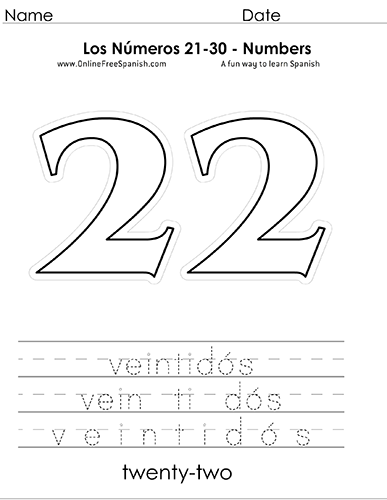 Onlinefreespanishcom Los Números Numbers 21 To 30 In Spanish