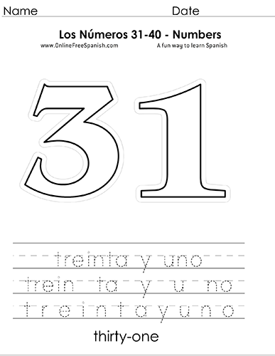 Onlinefreespanishcom Los Números Numbers 31 To 40 In Spanish