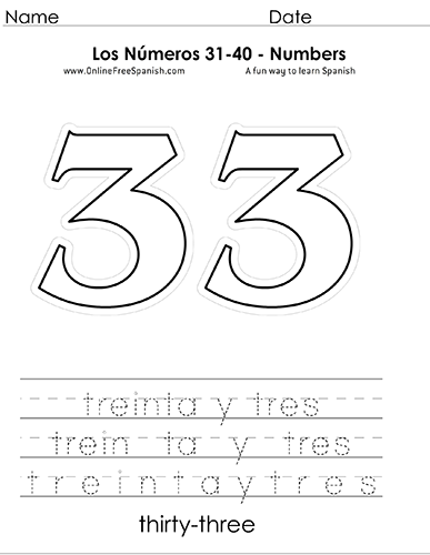 OnlineFreeSpanish.com - Los Números - Numbers 31 to 40 in Spanish ...